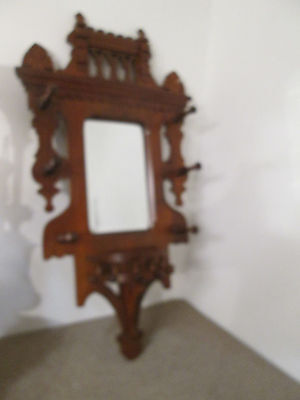 58142 Antique Mahogany  Victorian Hat rack Mirror
