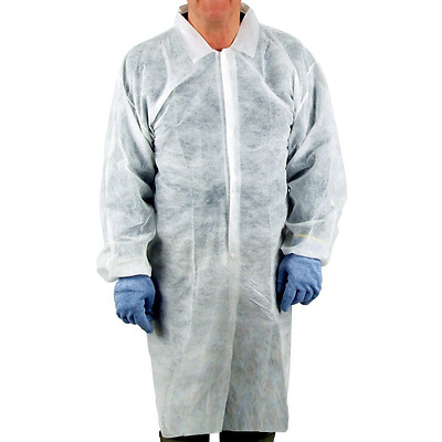 UltraSource Disposable Poly Lab Coats, Medium (Pack of 30)