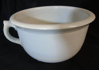 ANTIQUE OLD IRONSTONE HANDLED CHAMBER POT w/BLUISH TINT CIRCA EARLY 1900's