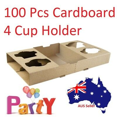100 Pc Disposable Coffee Cup Holder 4 Cardboard Drinks Tray Takeaway Travel Bulk