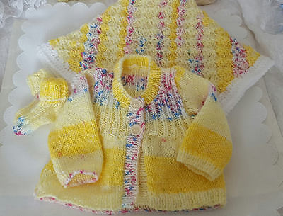 Hand Knitted Baby Clothes Cardigan Socks Crochet Baby Blanket 0-3 Months/Reborn