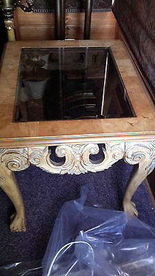 ANTIQUE VINTAGE PROVINCIAL STYLE coffee side table glass insert ornate table