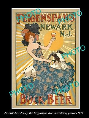 OLD LARGE HISTORIC PHOTO OF NEWARK NEW JERSEY, THE FEIGENSPANS BEER POSTER c1910