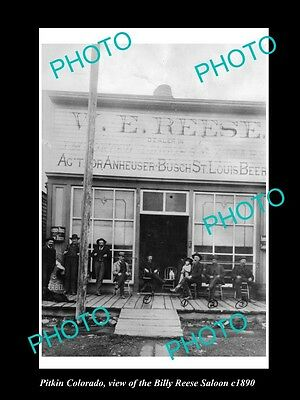 OLD LARGE HISTORIC PHOTO OF PITKIN COLORADO, THE REESE, BUSCH BEER SALOON c1890