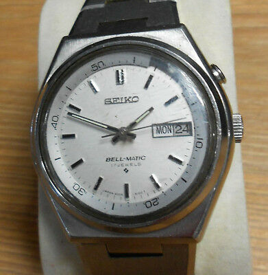 SEIKO BELL-MATIC Automatic Day Date Alarm Stainless Steel Vintage Wrist Watch