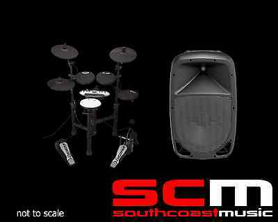 BLACK CARLSBRO CSD13O ELECTRONIC DRUM KIT DRUMKIT w STOOL +400W HH AMPLIFIER AMP