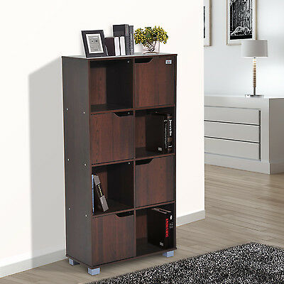 HOMCOM 8 Cube Bookcase Shelving Display Storage Boxes Unit Doors Home Wooden
