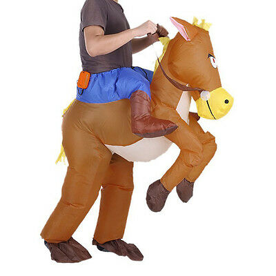 Fashion Inflatable Horse Cowboy Suit Halloween Fun Fancy Party Dress Costume CA