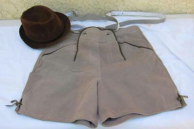 "German Mens 36"" Waist Suede Leather Lederhosen & Bavarian Cavanaugh Hat"