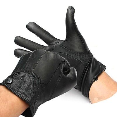 Unisex Winter Bike Bicycle Cycling Motorcycle Black Leather Sheep Warm Gloves