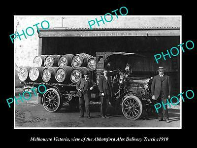 OLD LARGE HISTORIC PHOTO OF MELBOURNE VICTORIA, ABBOTSFORD ALE BEER TRUCK c1910