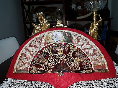 Antique r handfan , hand painting,  with box  XX /  XIX century