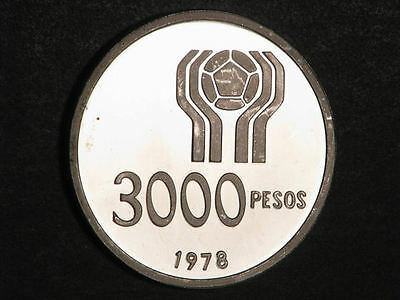 ARGENTINA 1978 3000 Pesos Soccer Silver Crown Choice Proof
