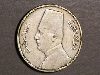 EGYPT 1929BP 20 Piastres Silver Crown VF