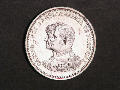 PORTUGAL 1898 200 Reis India Discovery Silver UNC