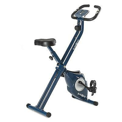 Bicicleta Estatica Fitness Plegable Cardio Pulsometro Regulable Bici 100Kg Azul