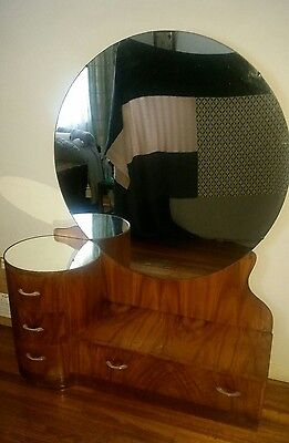 HOLLYWOOD ART DECO DRESSING TABLE WITH LARGE ROUND MIRROR Circa 1940s