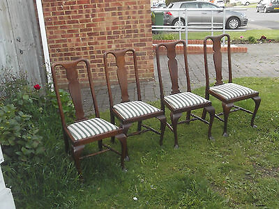set of 4 queen anne style  chairs  good bright condition  £44 buys