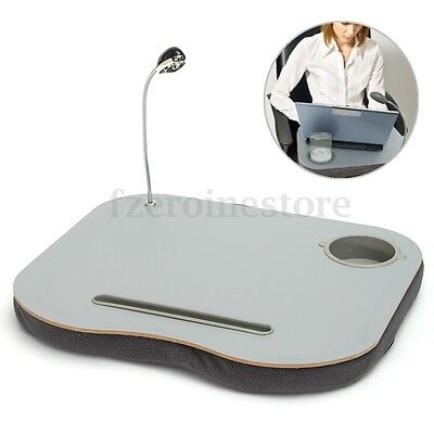 Laptop Cushion Knee Tablet Computer LED Reading Table Tray Cup Holder for Dorm