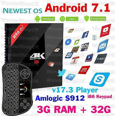 3GB/32G H96 Pro+ Android 7.1 TV BOX Amlogic S912 Octa Core 4K KODI 17, i8