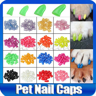 20 PCS Soft Dog Pet Nail Caps Claws Paws Off Control + Adhesive Glue XS S M L