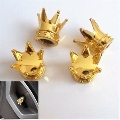 4Pcs Gold Crown Alloy Motorcycle Bike Car Wheel Tire Tyre Valve Dust Caps Covers