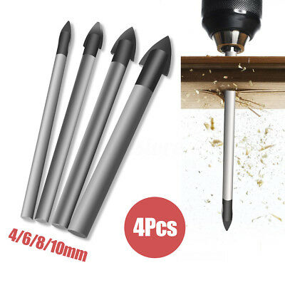 4Pcs Tools Ceramic Tile Glass And Mirror Drill Bit Set 4mm 6mm 8mm 10mm bits