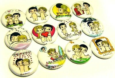 """12 LOVE IS - ONE Inch Buttons 1"""" Pinback Pins 1970s 80s Retro Love LIfe Couples"""