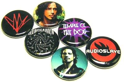 """6 Chris Cornell - ONE Inch Buttons 1"""" Pinback Pins Soundgarden Temple Dog RIP"""