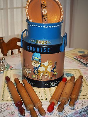 Milk Can & 6 Rolling Pins.