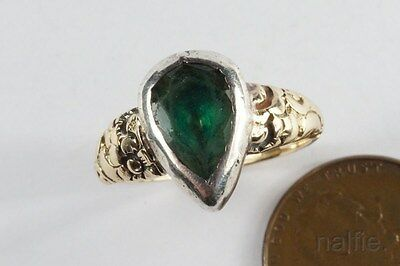 ANTIQUE ENGLISH GEORGIAN 15K GOLD & SILVER PEAR SHAPED EMERALD PASTE RING c1800
