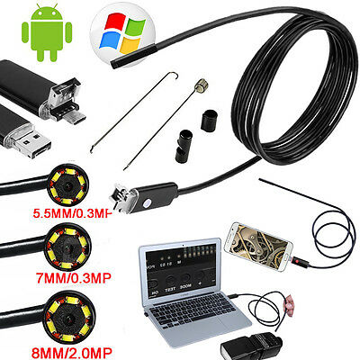 2 IN 1 Android Endoscope 6LED Waterproof Inspection Camera USB Video Tube For PC