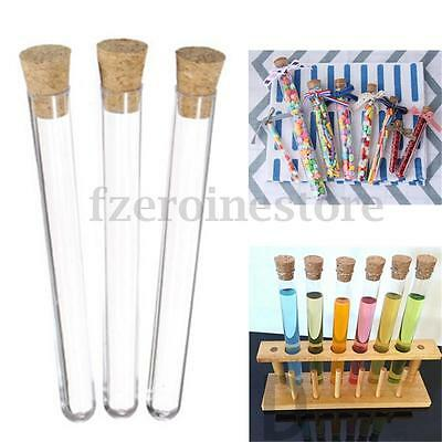 1/10/20/50X 20ML Plastic Test Tubes With Cork Stopper Volume Candy Party Wedding