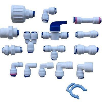 "1/4"" Push Fit Pipe Fittings for American Fridge and RO Unit Elbow, Tee Piece etc"