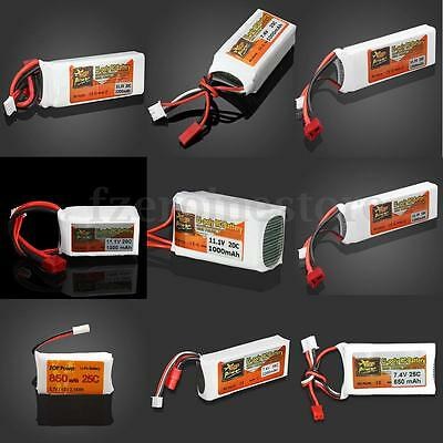 ZOP Power 11.1V,7.4V, 3.7V  800-2200mAh 20C 25C Lipo Battery JST /T/ Banana Plug