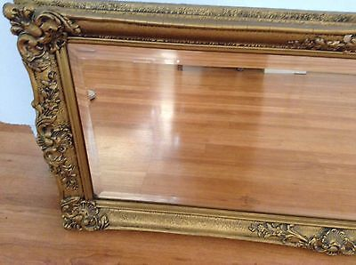 Vintage Antique Bevelled Mirror With Ornate Gilt Frame