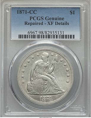 1871-Cc Seated Liberty Dollar $1 Pcgs Xf Details, Very Rare! Xf40 Pg = $15,500!