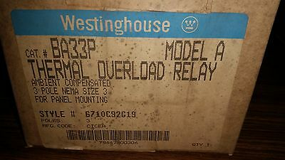 Westinghouse BA33P Thermal Overload Relay, Model A (New) **SALE**