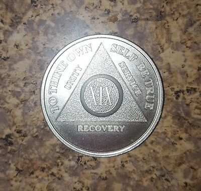 19 Year .999 Fine Silver AA Alcoholics Anonymous Medallion Coin One New