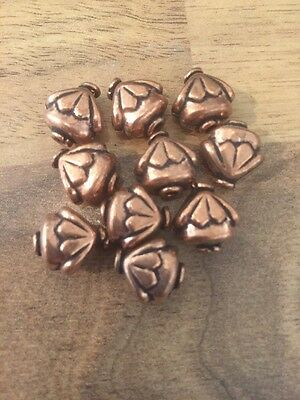 Solid Copper Flower Top Beads (set of 10 beads)