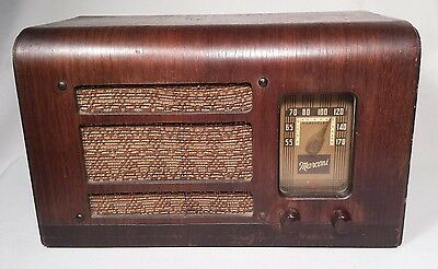 Vintage Marconi Model 194 Tube Radio with Wooden Cabinet