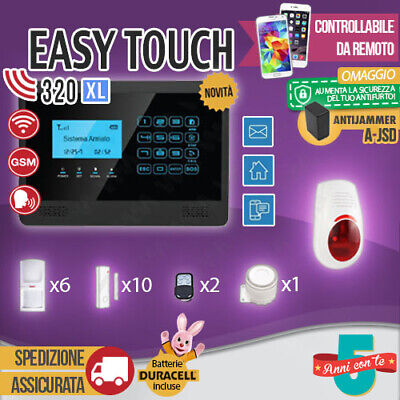 Kit Antifurto Casa Allarme Touch Screen Combinatore Gsm Wireless Easytouch320Xl