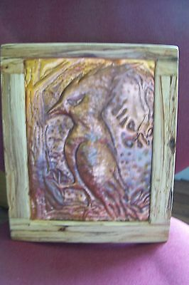 """Handmade Copper arts &crafts style sculpted picture """"knock on wood"""""""