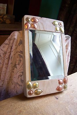 """Handmade arts & crafts style ash and copper mirror """" Autumn Gold"""""""
