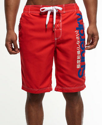 New Mens Superdry Board Shorts Brighton Red