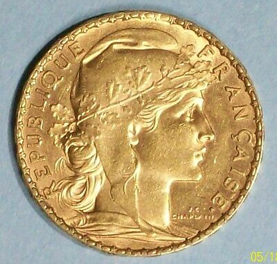 France 20 Francs 1908 Uncirculated 0.9000 Gold 0.1867 Oz Coin
