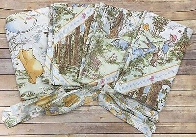 Classic WINNIE THE POOH Curtains Panels Set Of 4 Vintage Hunny Pots Baby Nursery