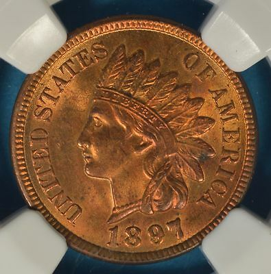 1897 Indian Head Cent NGC MS64RB- Mostly Red, Sharp Looking Example