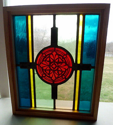 Antique Vtg Church Stained Glass Window Architectural Salvage Panel A13
