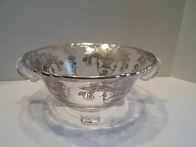 Sterling Silver Overlay Small Two Handled Footed Bowl